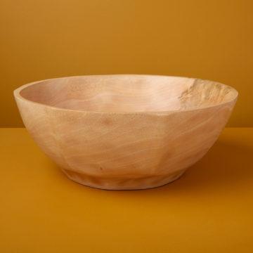 Kiln Mango Wood Curved Bowl, Large