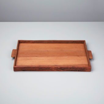 Reclaimed Wood  Rectangular Footed Tray, Large