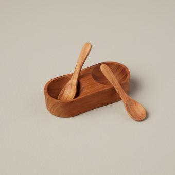 Teak Cellar with Spoon &  Pivoting Lid