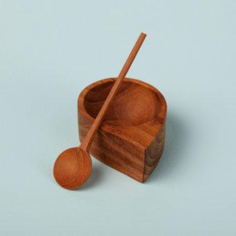 Teak Salt & Pepper Cellar with Spoons