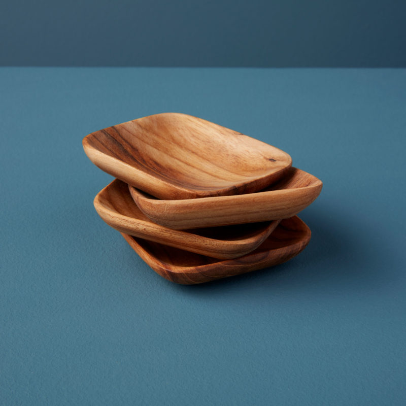 Teak Square Bowls, Set of 4