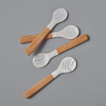 Seashell & Bamboo Spoons, Medium, Set of 4