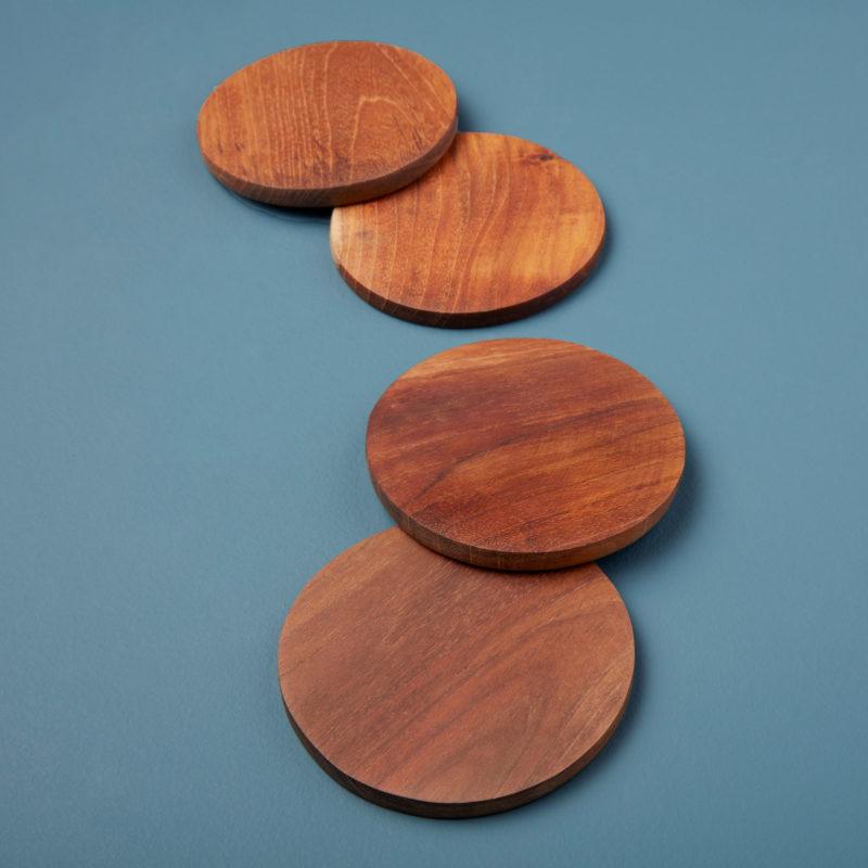 Teak Round Coasters, Set of 4