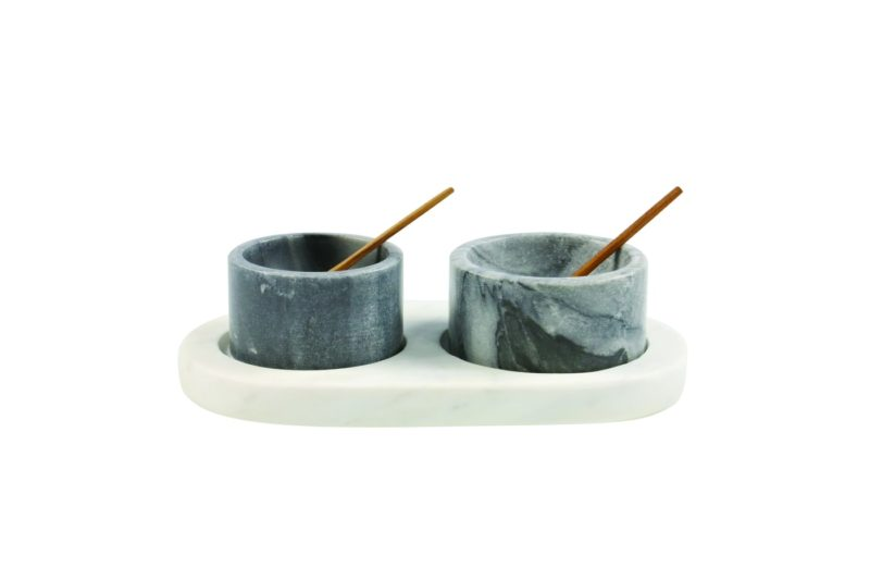 White & Gray Marble Cellars with Spoons & Tray