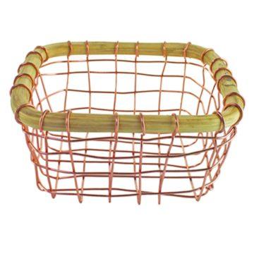 Copper Wire & Cane Square Basket, Small