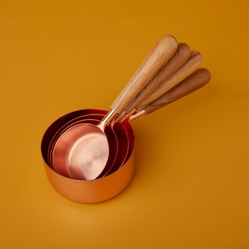 Copper & Wood Measuring Cups, Set of 4