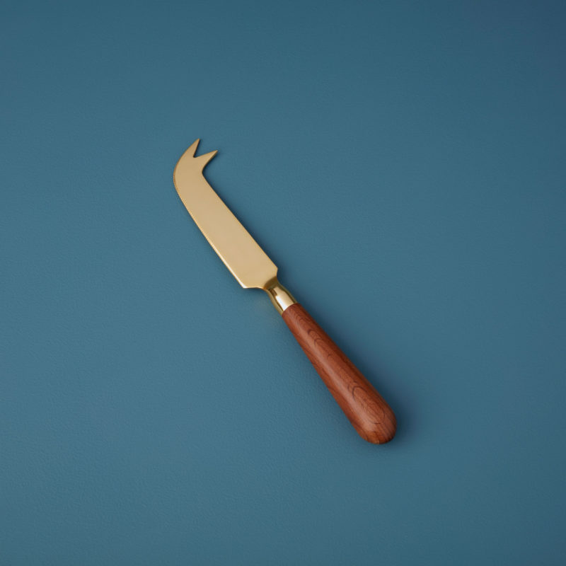 Gold & Wood Cheese Knife