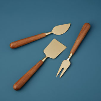 Copper & Wood Cheese Set