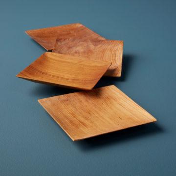 Teak Small Plates, Set of 4