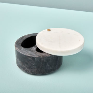 White & Gray Marble Cellar with Pivoting Lid