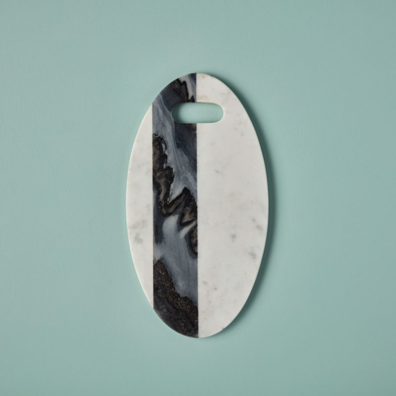 White & Gray Marble Oval Board