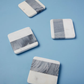 White & Gray Marble Square Coasters, Set of 4