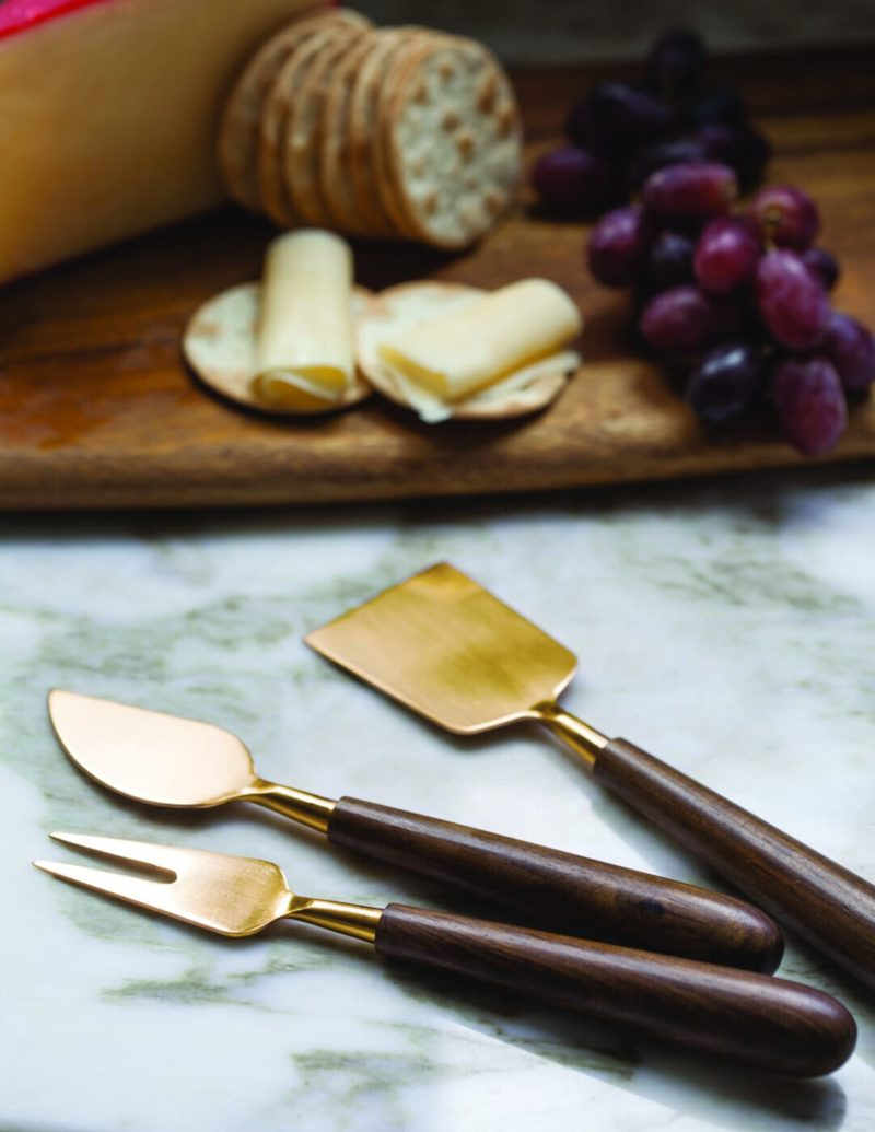 Gold & Wood Cheese Set
