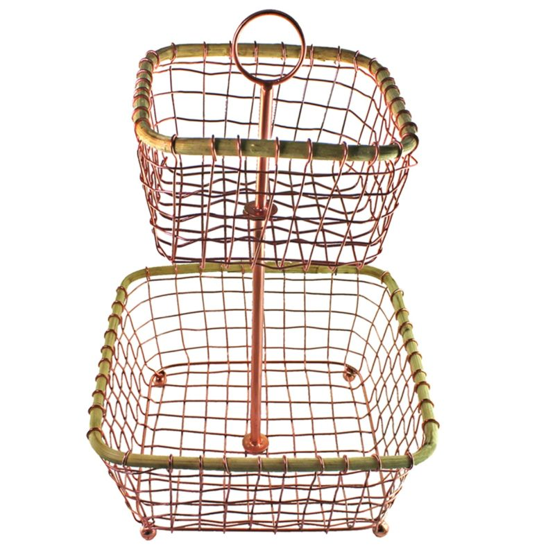Copper Wire & Cane Two-Tier Basket