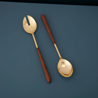 Serving Set with Gold Heads & Stained Horn Handles