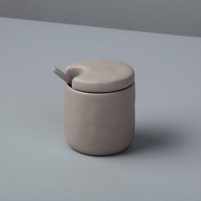 Stoneware Cellar & Spoon, Sterling