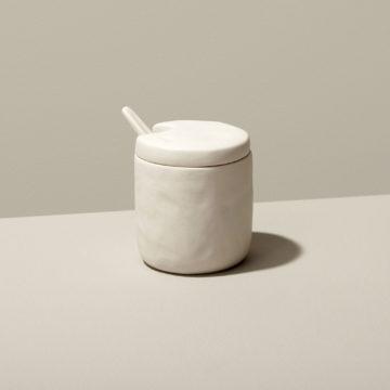 Stoneware Cellar & Spoon, White