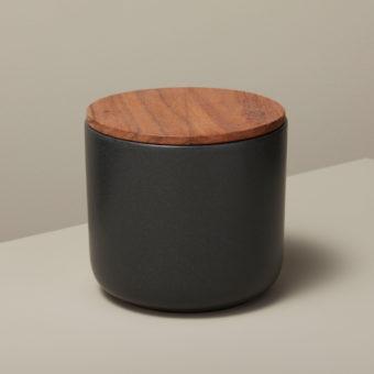 Stoneware & Acacia Canister, Black, Medium