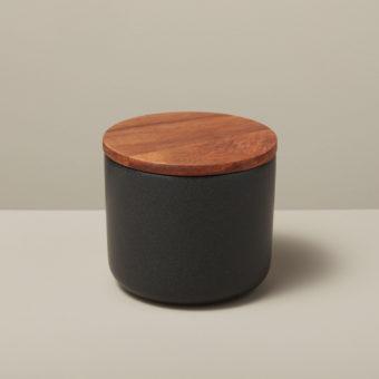Stoneware & Acacia Canister, Black, Extra Small