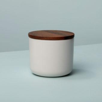 Stoneware & Acacia Canister, White, Extra Small