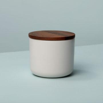 Stoneware & Acacia Canister, White, Medium