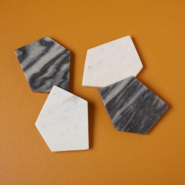 White & Gray Marble Geometric Coasters Set of 4