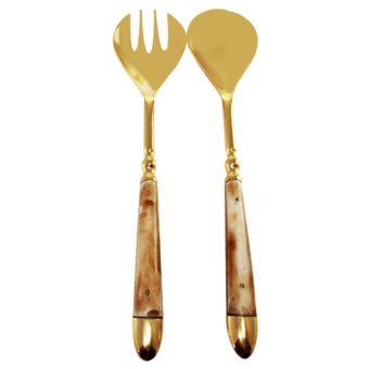 Gold & Wood Serving Set