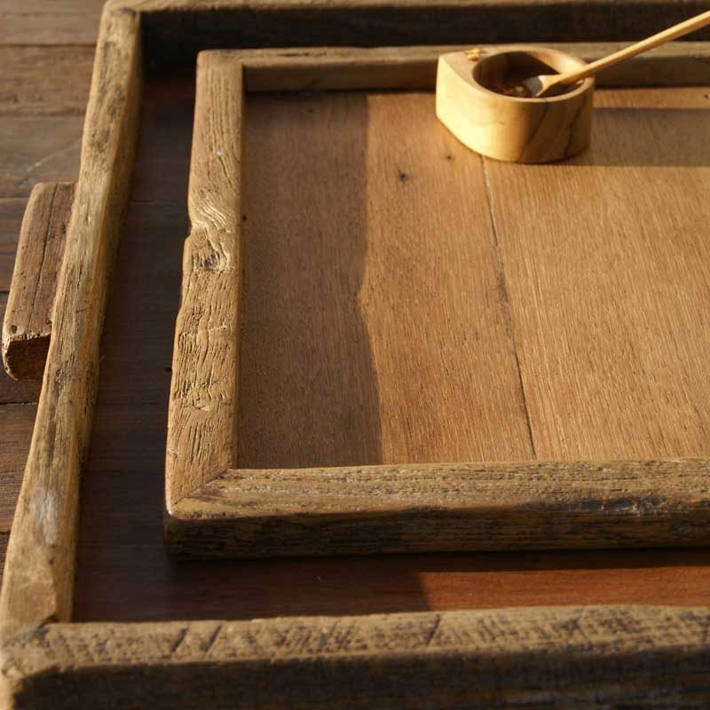 Reclaimed Wood Tray Rectangular, Large