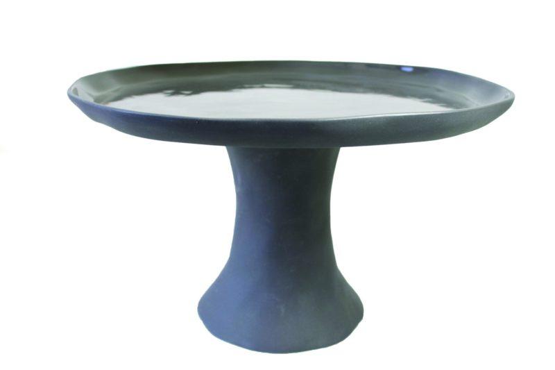Stoneware Cake Stand, Slate Gray, Large