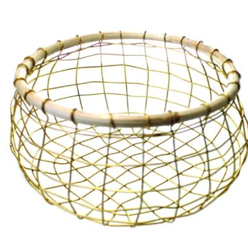 Gold Wire & Cane Round Basket, Small