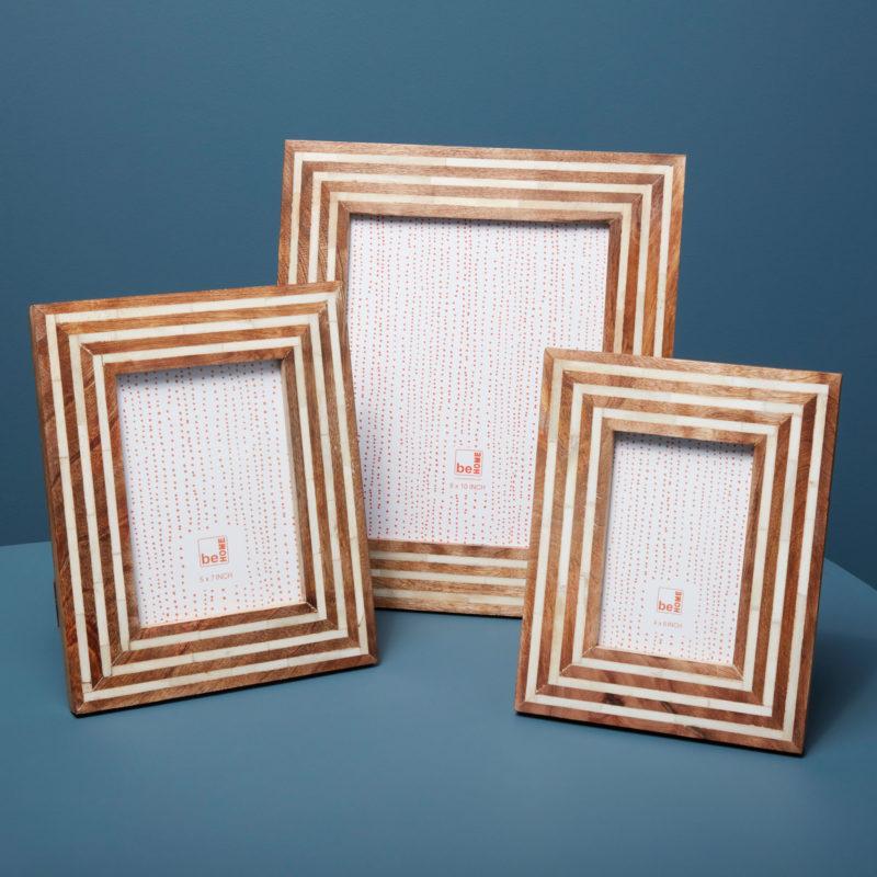Wood & Bone Striped Frame, 4″ x 6″