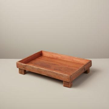 Reclaimed Wood  Rectangular Footed Tray, Medium