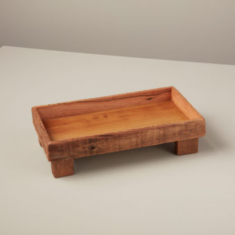 Reclaimed Wood Square Footed Tray, Small