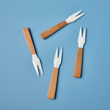 Seashell and Bamboo Forks Set of 4