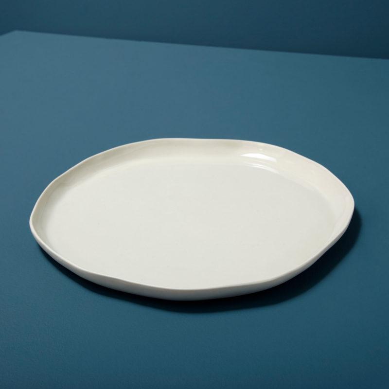 Stoneware Flat Plate White, Large