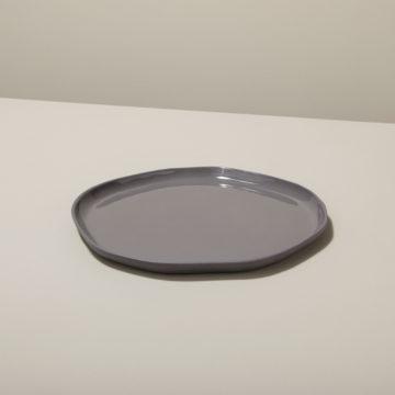 Stoneware Flat Plate Slate, Medium