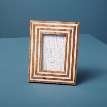 Wood and Bone Striped Frame, 5″ x 7″