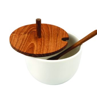 Teak Tray with Ceramic Mini Cellars with Teak Lid & Spoon