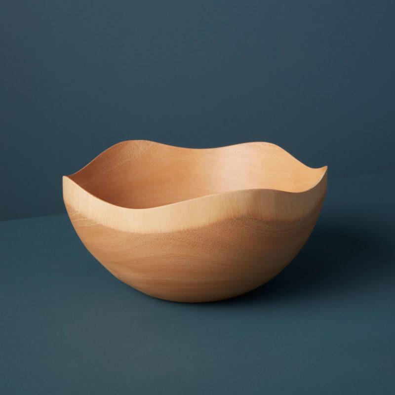 Kiln Mango Wood Wave Edge Bowl, Large