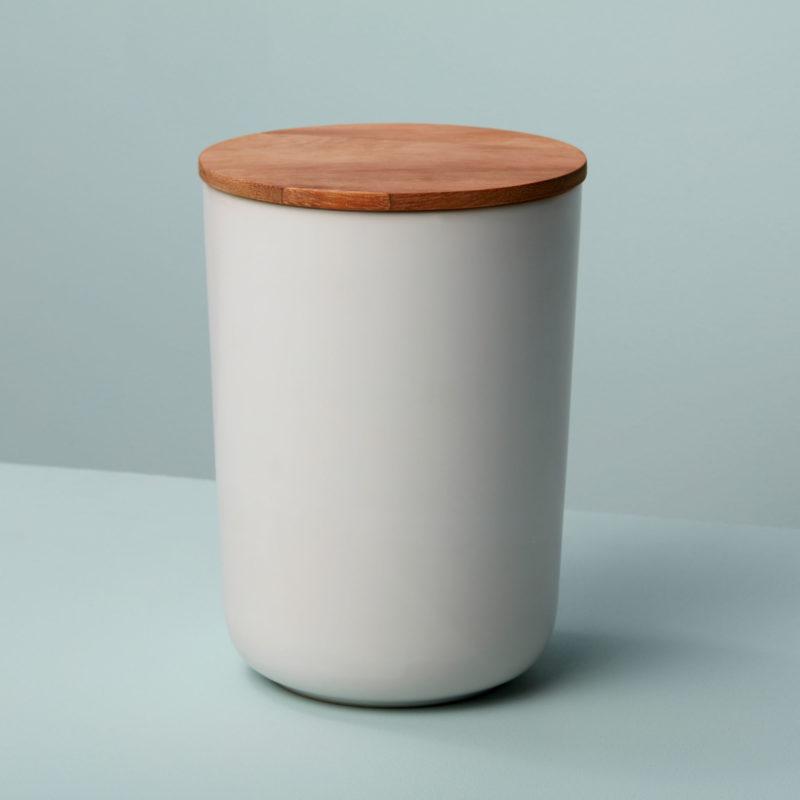 Stoneware & Acacia Canister, White, Extra Large