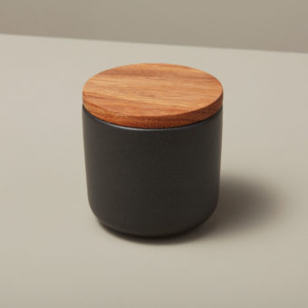 Stoneware & Acacia Canister Canister, Black, Extra Large