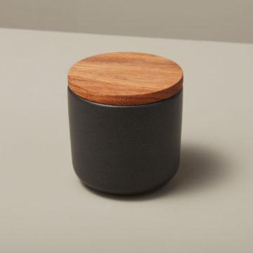 Stoneware & Acacia Canister, Black, Small