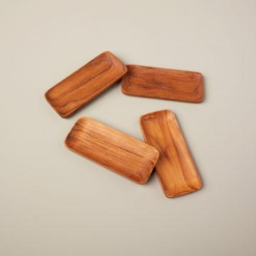 Teak Rectangular Trays, Set of 4