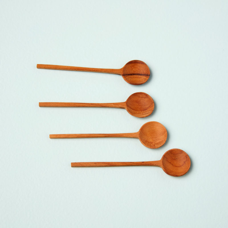 Teak Thin Spoons, Small, Set of 4
