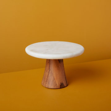 White Marble & Wood Cake Stand, Small