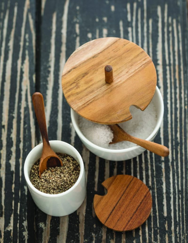 Teak Cellar Round with White Ceramic Lid and Spoon