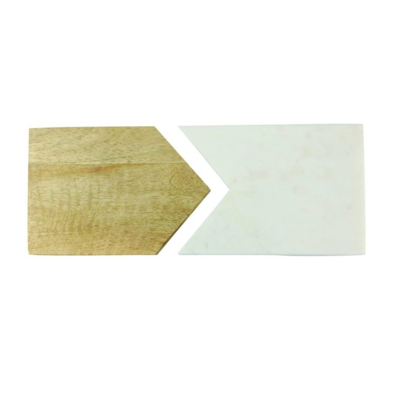 White Marble and Wood Two Piece Board Small