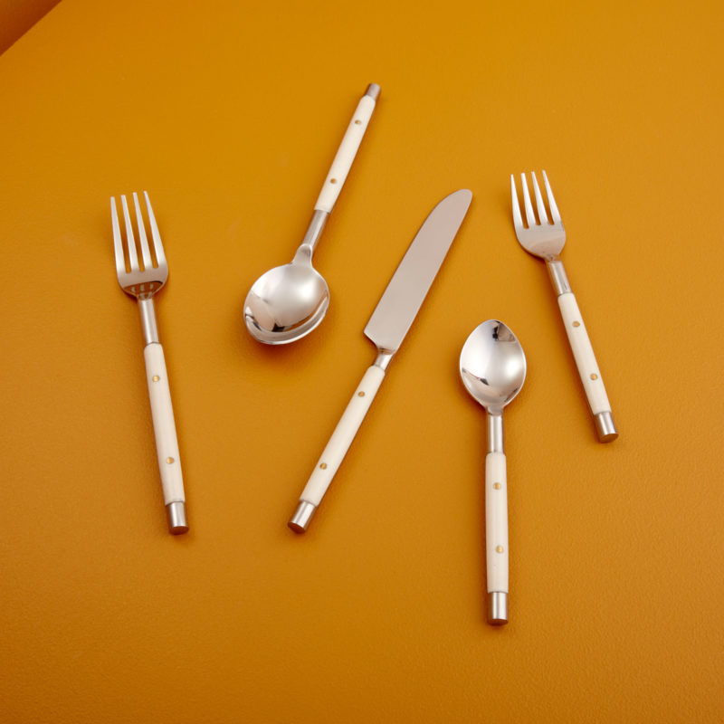 Stainless with White Inlay Flatware Set