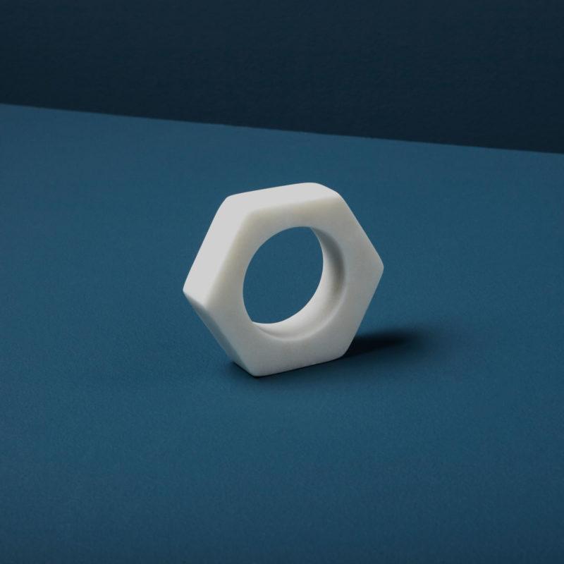 White Marble Hexagon Napkin Ring