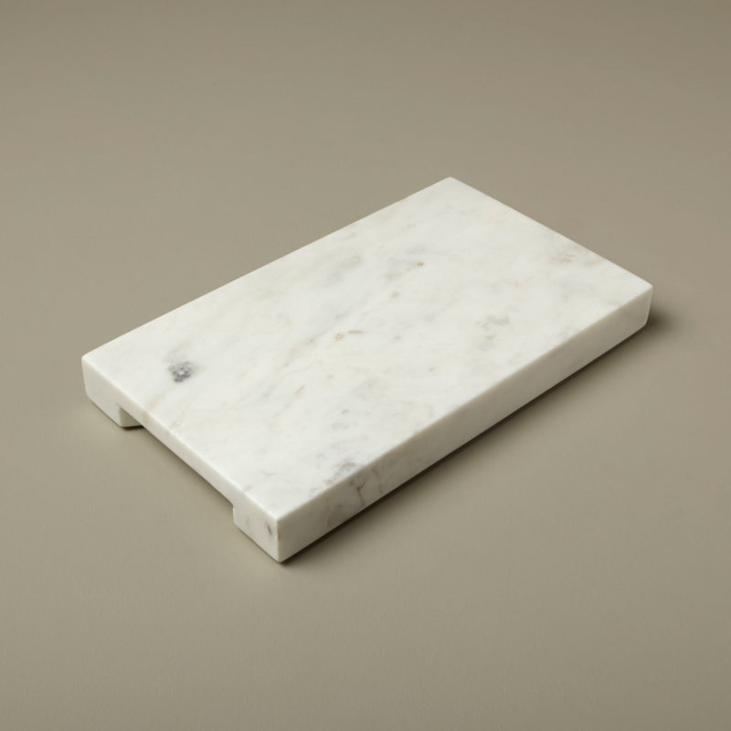 White Marble Thick Rectangular Board with Handle Grooves